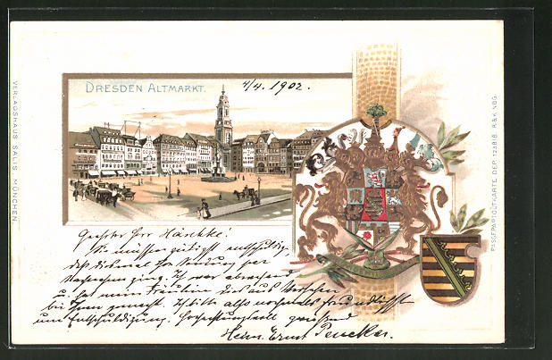 Passepartout-Lithographie Dresden, Blick über den Altmarkt, Wappen