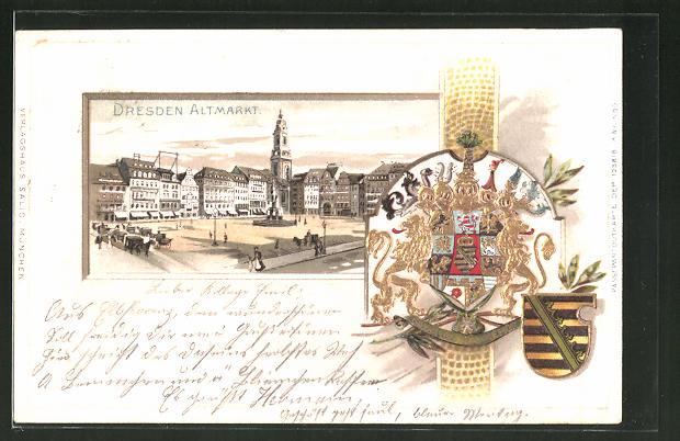Passepartout-Lithographie Dresden, Partie am Altmarkt, Wappen