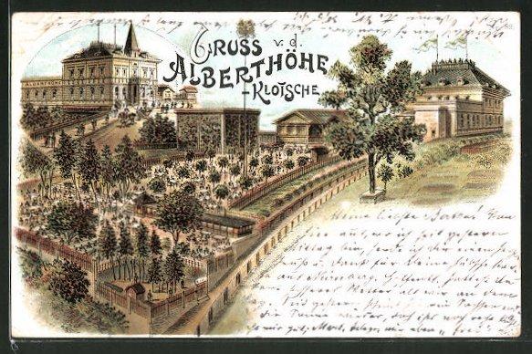 Lithographie Dresden Klotzsche Hotel Albert Höhe Mit Gartenanlagen