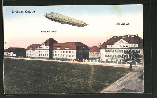 AK Dresden-Übigau, Zeppelin über der Funkerkaserne und Stabsgebäude