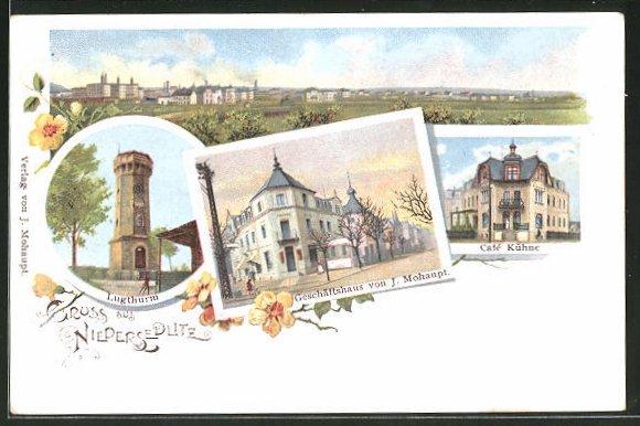 Lithographie Dresden-Niedersedlitz, Gesamtansicht, Lugthurm, Geschäftshaus von J. Mohaupt & Café Kühne