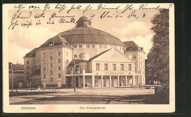 AK Dresden-Neustadt, Zirkus Sarrasani, Carolaplatz