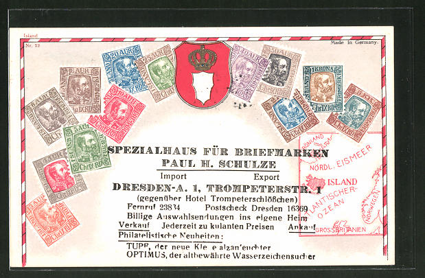 AK Dresden, Spezialhaus für Briefmarken von Paul H. Schulze, Trompeterstrasse 1, Briefmarken und Wappen