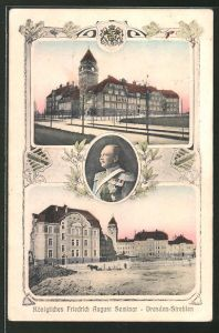 AK Dresden-Strehlen, Königliches Friedrich August-Seminar, König Friedrich August von Sachsen