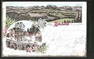 Lithographie Hohnstein, Panorama & Gasthaus Brand in der sächs. Schweiz