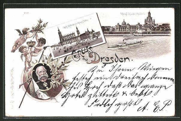 Lithographie Dresden, Königl. Kunst-Akademie, Kath. Hofkirche und Königl Schloss