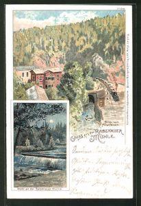 Lithographie Rabenau, Gasthaus Rabenauer Mühle, Wehr an der Mühle