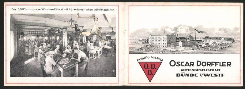 Werbebillet Bünde / Westfalen, Oscar Dörffler AG, Fabrikation von Wurstwaren, Fabrikgebäude, Blick in die Produktion
