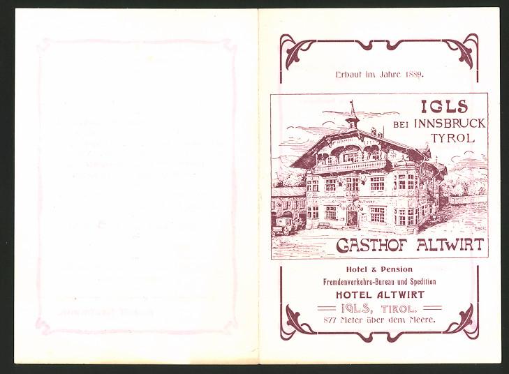Werbebillet Igls / Tirol, Gasthof Altwirt, Bes. Rudolf Kaufmann, Hotelgebäude
