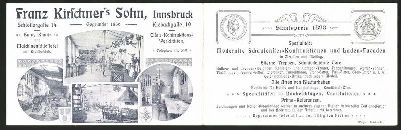 Werbebillet Innsbruck / Tirol, Maschinenschlosserei Franz Kirchner's Sohn, Blick in die Werkstatt