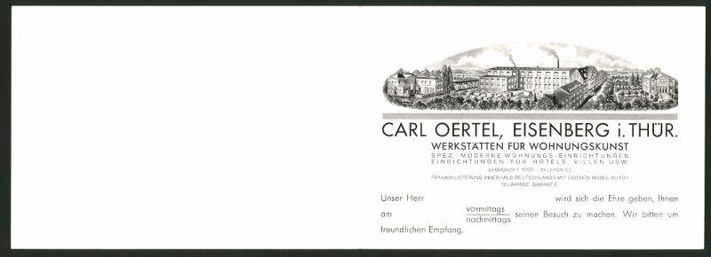Vertreterkarte Eisenberg / Thüringen, Carl Oertel Werkstätten für Wohnungskunst, Fabrik, Schlaf - & Esszimmer