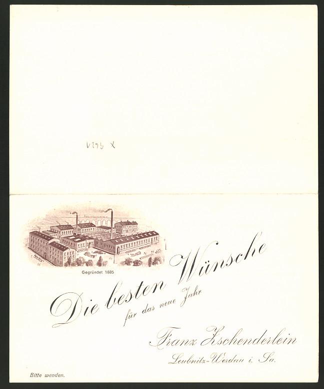 Vertreterkarte Leubnitz-Werdau i. Sa., Franz Zschenderlein, Fabrikation von Fetten & Maschinenölen, Fabrik, Artikelliste