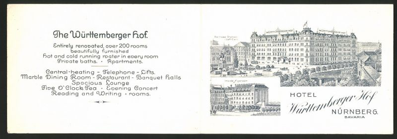 Werbebillet Nürnberg, Hotel Württemberger Hof, Hotelgebäude am Bahnhof, Landkarte innen