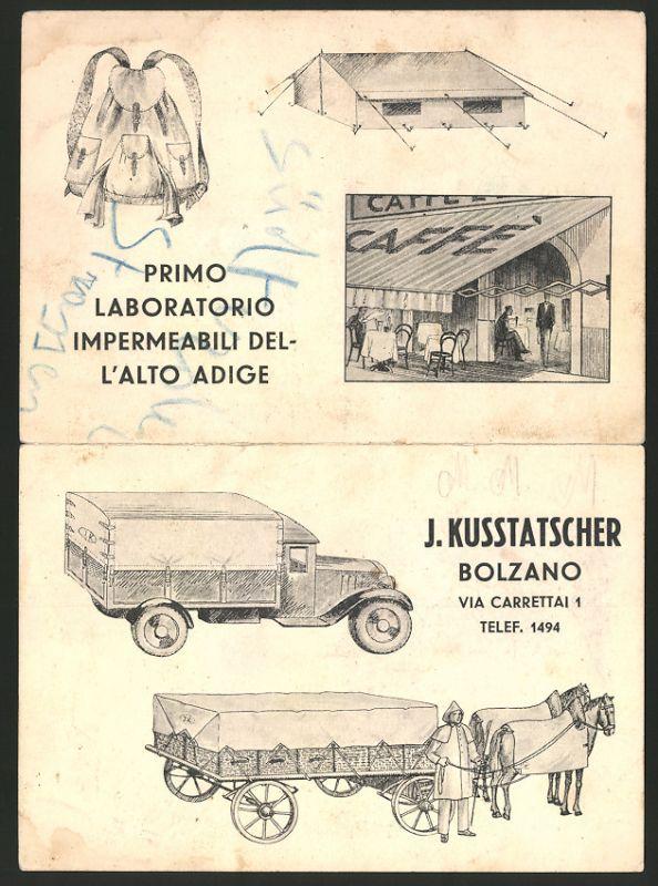 Vertreterkarte Bozen / Bolzano, J. Kusstatscher, Primo Laboratorio Impermeabili Del L'Alto Adige, LKW-Plane, Landkarte
