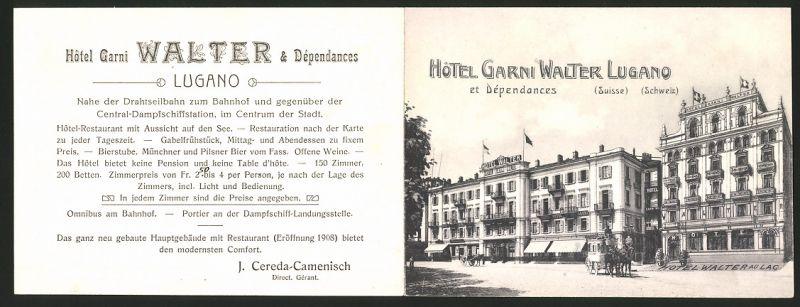 Werbebillet Lugano, Hotel Garni Walter, Hotelgebäude & Panoramablick