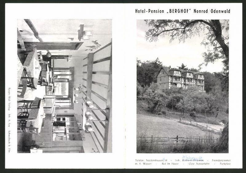 Werbebillet Nonrod / Odenwald, Hotel-Pension Berghof, Hotelgebäude Innen - & Aussenansicht