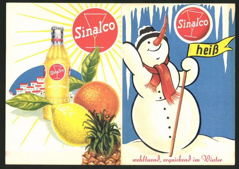 Werbebillet Sinalco - Limonade, als Kalt - & Heissgetränk, Schneemann in verschneiter Landschaft, Flasche Sinalco