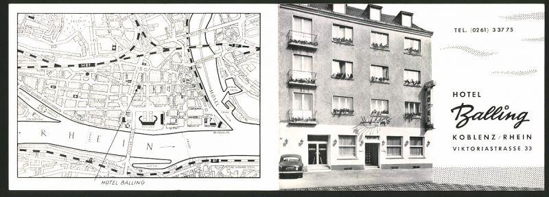Werbebillet Koblenz / Rhein, Hotel Balling Viktoriastrasse 33, Hotelgebäude Innen - & Aussenansicht, Landkarte