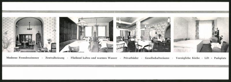 Werbebillet Koblenz / Rhein, Hotel Balling Viktoriastrasse 33, Hotelgebäude Innen - & Aussenansicht, Landkarte 1