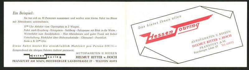 Werbebillet Frankfurt / Main, Hessen Touring Autofahrten & Reisen, Helmut Ritter v. Hoch 0