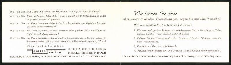 Werbebillet Frankfurt / Main, Hessen Touring Autofahrten & Reisen, Helmut Ritter v. Hoch 1