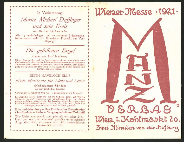 Werbebillet Wien, Manz Verlag, Kohlmarkt 20, Wiener Messe 1921