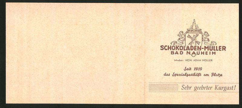 Werbebillet Bad Nauheim, Schokoladen Müller, Reinhardstrasse & Parkstrsse 2, Umgebungskarte 0