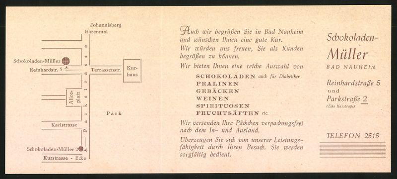 Werbebillet Bad Nauheim, Schokoladen Müller, Reinhardstrasse & Parkstrsse 2, Umgebungskarte 1