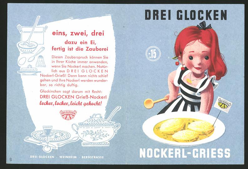 Werbebillet Weinheim / Bergstrasse, Drei Glocken Nudelfabrik, Nockerl-Griess, Mädchen & Teller Nockerl-Griess 0
