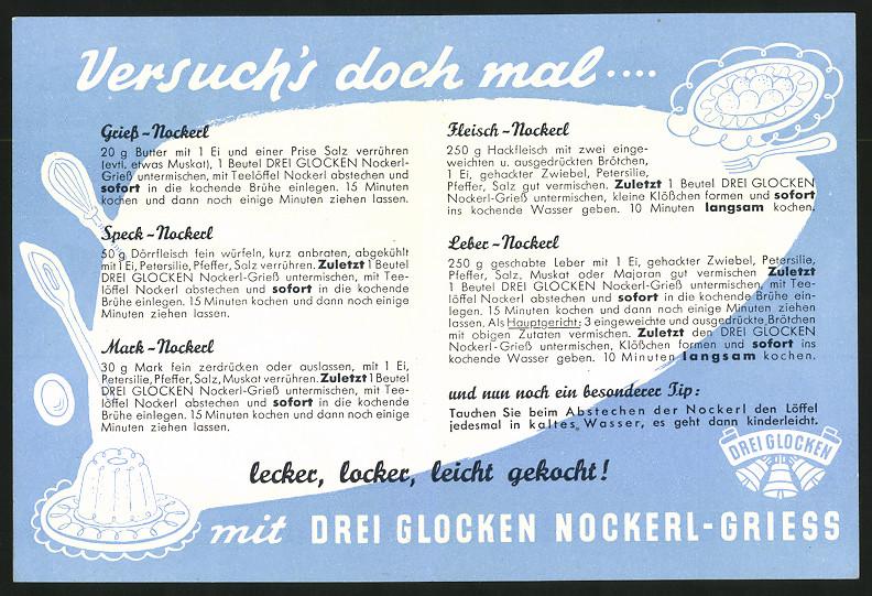 Werbebillet Weinheim / Bergstrasse, Drei Glocken Nudelfabrik, Nockerl-Griess, Mädchen & Teller Nockerl-Griess 1