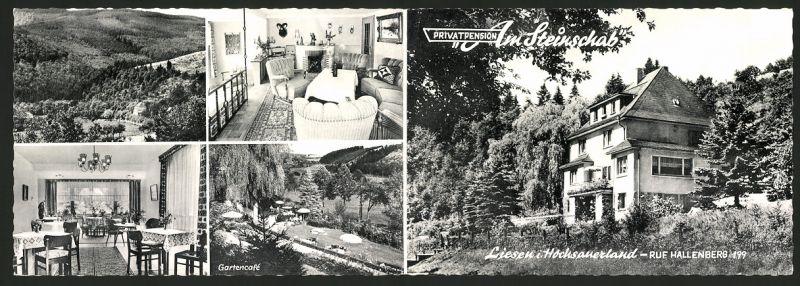 Werbebillet Liesen / Sauerland, Privatpension Am Steinschab, Hotel Innen - und Aussenansicht, Umgebungskarte 0