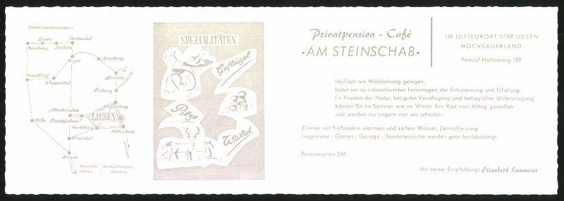 Werbebillet Liesen / Sauerland, Privatpension Am Steinschab, Hotel Innen - und Aussenansicht, Umgebungskarte 1