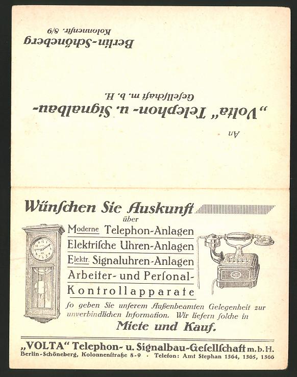 Vertreterkarte Berlin-Schöneberg, Volta Telephon & Signalbau GmbH, Kolonnenstr. 8-9, Telefon, Uhr