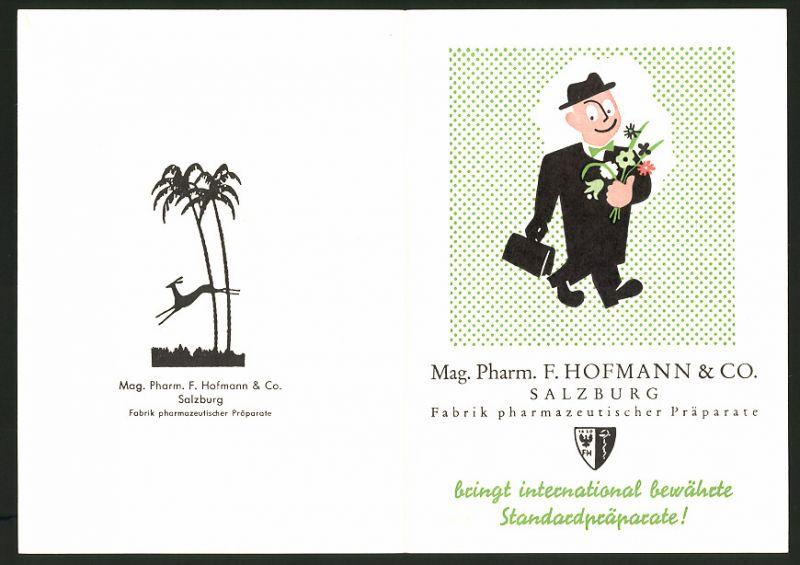Werbebillet Salzburg, Mag. Pharm. F. Hofmann & Co., Fabrik pharmazeutischer Präparate, rückseitig Dosierungs-Tabelle