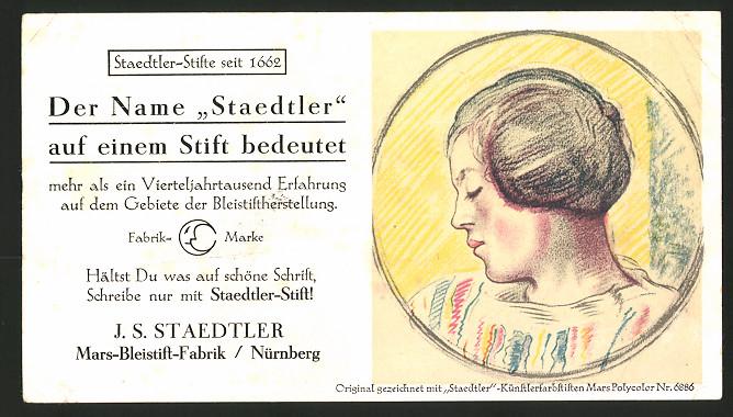 Werbebillet Nürnberg, J. S. Staedtler Mars-Bleistift-Fabrik, Frauen-Portrait gezeichnet mit Mars Polycoloer Nr. 6886