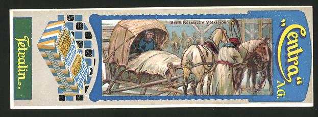 Lesezeichen Centra AG, Tetralin Waschmittel, Russen mit Pferdeschlitten im Winter