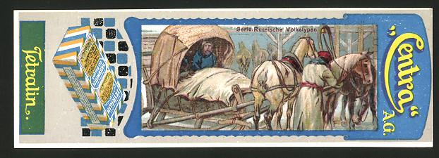 Lesezeichen Centra AG, Tetralin Waschmittel, Russische Volkstypen, Russen mit Pferdeschlitten im Winter