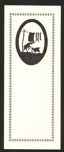Lesezeichen Berlin, Berliner Tierschutz-Verein, Lesezeicchen Nr. 2, Silhouette Ziegen fressen Wäsche