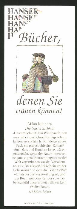 Lesezeichen Hanser Bücher, Hand mit Dolch kommt aus dem Buch, Buch-Beispiele