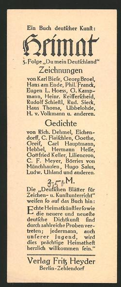 Lesezeichen Berlin-Zehlendorf, Verlag Fritz Heyder, Heimat - Ein Buch deutscher Kunst
