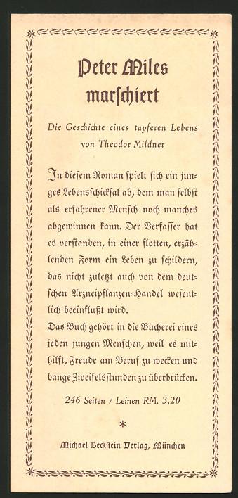 Lesezeichen München, Michael Beckstein Verlag, Buch Peter Miles marschiert von Theodor Mildner