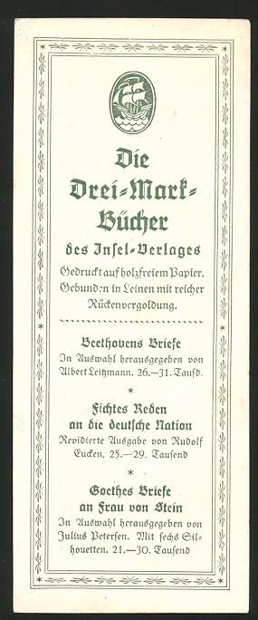 Lesezeichen Leipzig, Insel-Verlag, Die Drei-Mark-Bücher, Buch-Beispiele