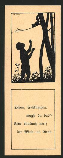 Lesezeichen Berlin, Tierschutz-Verein, Lesezeichen Nr. 25, Silhouette Knabe lockt Eichhörnchen an