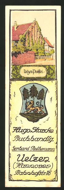 Lesezeichen Uelzen, Hugo Starcke Buchhandlung, Bahnhofstr. 18, Uelzen-Probstei, Wappen