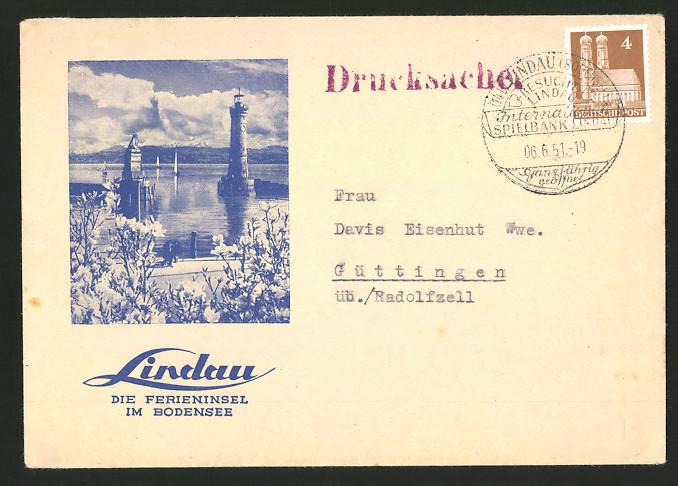 Dekorativer Brief Lindau / Bodensee, Leuchtturm & Hafeneinfahrt, rückseitig Fleurop-Reklame