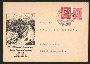 Dekorativer Brief Zeitz, Drahtseil-Eisenbahn C. Bescherer, Ortsansicht mit Station der Drahtseilbahn, Bergbahn