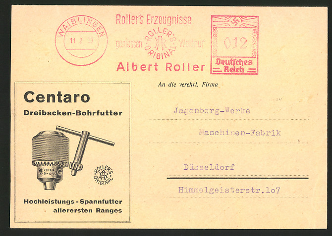 Dekorativer Brief Waiblingen, Centaro Dreibacken-Bohrfutter, Roller's Erzeugnisse, rückseitig Gewindeschneider