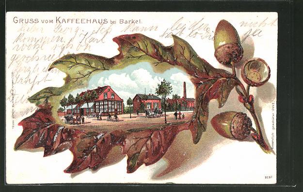 Passepartout-Lithographie Brakel, Restaurant Kaffeehaus in Eichenblatt