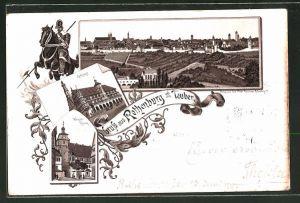 Vorläufer-Lithographie Rothenburg o. Tauber, 1893, Rathaus, Weisser Thurm, Panoramablick auf die Stadt