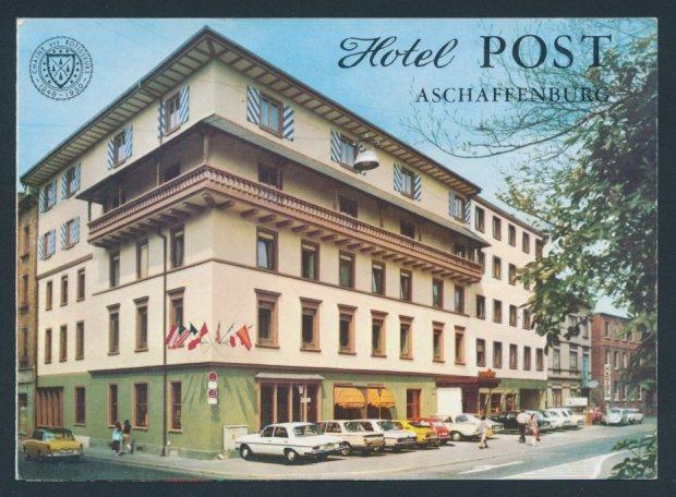 Werbebillet Aschaffenburg, Hotel Post, Hotelgebäude Innen - und ...
